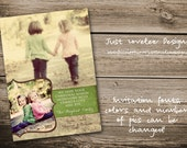 5x7 Christmas Photo Card With Photo Background and a Vintage Feel - Print Your Own