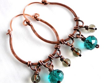 Hoop Earrings, Antiqued Copper Jewelry, Teal Green and Gray Glass, Wire Wrapped Earrings