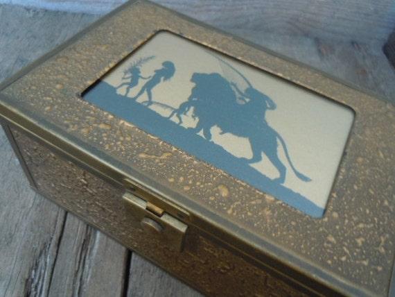 Vintage Jewelry Box Art Deco Silhouette Gold Textured Metal with Beveled Mirror Keepsake Treasure Holder