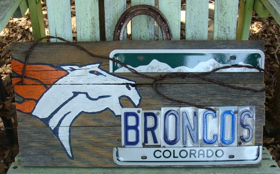 Denver Broncos License plate Rustic Wood Fence Panel Man Cave Sign