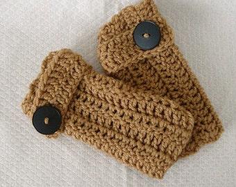 Crocheted Fingerless Gloves Mittens Wheat