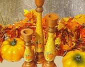 Hand Painted Fall Wooden Candlesticks