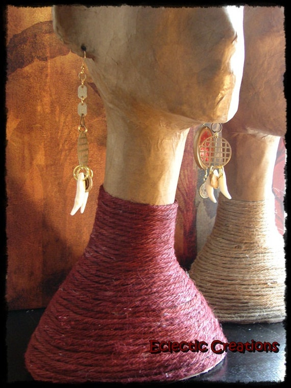 Items similar to paper mache long neck dyed twine for for How to make paper mache jewelry