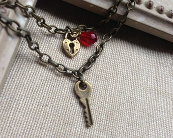 NEW Boyfriend and Girlfriend Matching Jewelry, Heart Lock and Key SET of Bracelets on Chain, Custom length