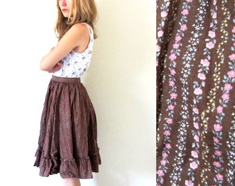 SALE vintage skirt 60s prairie brown calico ruffle dancing 1960s womens clothing size extra small xs s