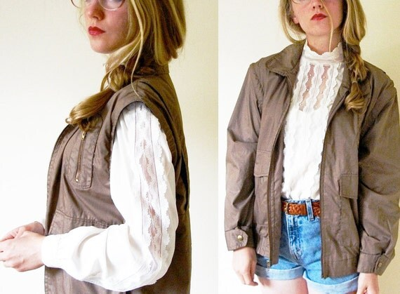 vintage 1980s Tan Convertible Multi-Pocketed Grandpa Jacket or Vest -- M/L
