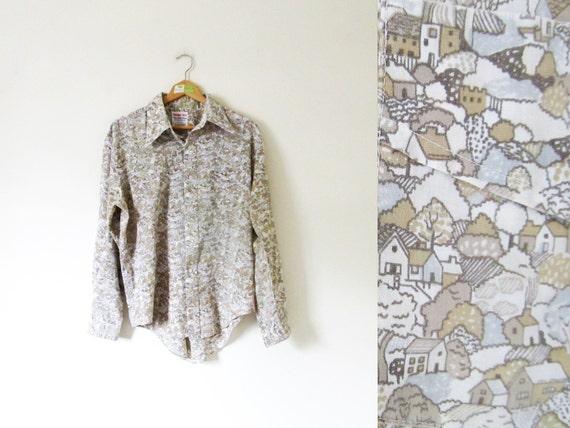 vintage 1970s Shirt // Neutral Colors // Happy Town Print // Button Down // M/L