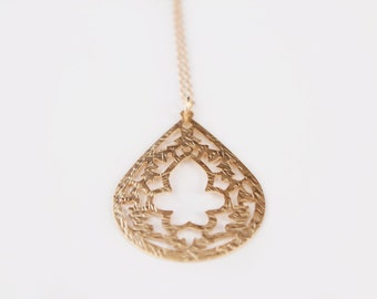 Long Lace Teardrop Necklace - Gold Burst - 30 inch