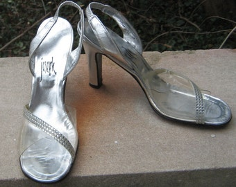 Glitzs N Glam Joseph Clear Silver Rhinstone Shoes 1960s 1970s Size 7.5 Narrow Open toe