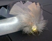 Gray and Peach feather bridal fascinator with clear crystal rhinestone jewel, hair clip