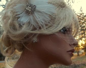 Wedding Set  Bridal Wedding Fascinator, French Net Birdcage bandeau bridal veil Vintage Style Pearl Rhinestone Brooch 2 piece set
