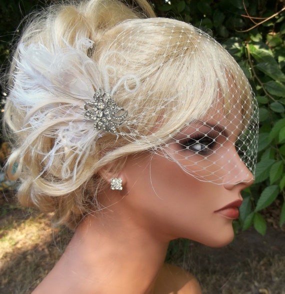 Wedding Bridal Ivory hair fascinator and french net bandeau bridal veil vintage style rhinestone brooch, feather fascinator -ship ready OOAK