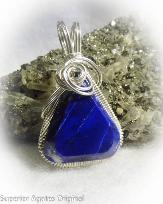 Lapis Lazuli Silver Wire Wrapped Stone Pendant