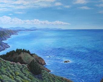 California Pacific Ocean Coast Landscape Art Print 8x12 Giclee