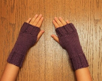 Hand Knit Fingerless Mittens/Texting Gloves - Light Purple Wrist Warmers- One Size Fits All