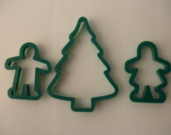 3 vintage 1980s Wilton COOKIE CUTTERS - green, tree, gingerbread