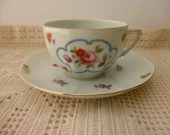 Vintage CUP AND SAUCER-Made in Czechoslovakia, flowers, floral, shabby chic