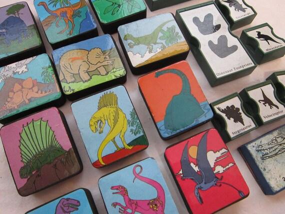 20 rubber stamps - DINOSAURS - destash, used