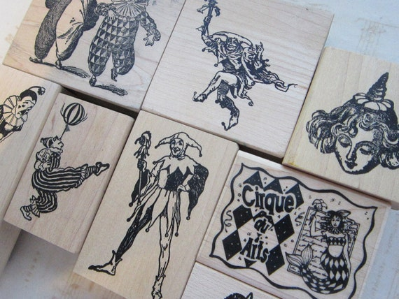 8 rubber stamps - CLOWNS, circus, MERMAID, harlequin, party hat - used