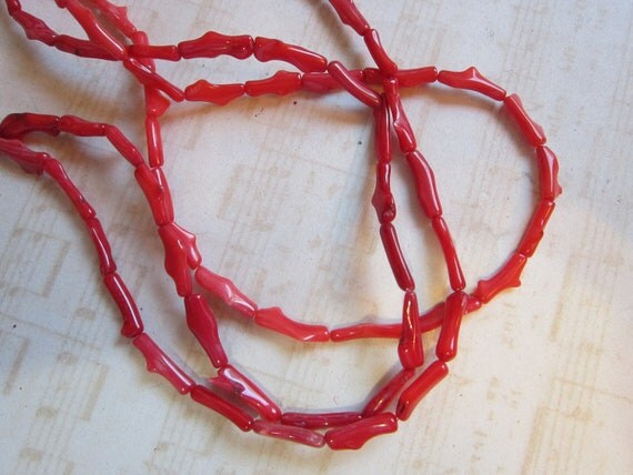 coral beads - 3 strands - drilled lengthwise - 10mm to 13mm long
