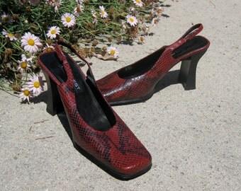 Red Bourdeaux snake leather NINE WEST slingback 3.5 inch heels 9.5 M never worn