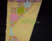 Jungle Babies Ruffled Edge Rag Quilt Blanket with Yellow, Pink, Green, Blue - Medium Size Ready to Ship