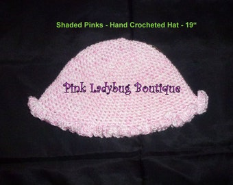 Hand Crocheted Baby Girl Infant Girl Toddler Girl Hat - Shaded Pinks with Bottom Ruffle is Ready to Ship