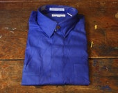 YSL Yves Saint Laurent Blue Polka Dot Dress Shirt / Mens Medium