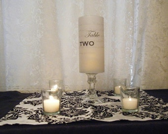 Table Number Luminaries on Stand with I Corinthians