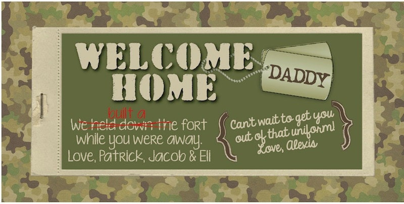 Printable welcome home military banner at by for Welcome home troops decorations