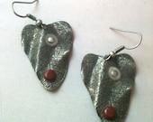 Antiqued Silver Steampunk Leaf Earrings