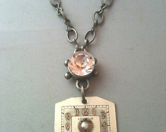 Antique Watch Face with Crystal Steampunk Necklace