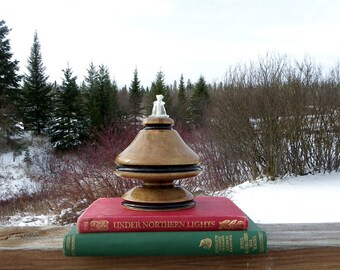 Hard Maple Oil Lamp with Deep Dark Burned Bands