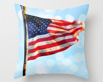 American Flag Pillow, Stars and Stripes, Throw Pillow Cover, Art Photography, Red, White, Blue, Traditional Home Decor, 4th July, Patriotic
