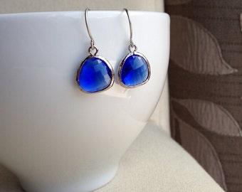 Cobalt Blue Glass Drop Earrings in Silver - gift, mother, wife, sister, daughter, birthday, friend, graduation, bridesmaid, romantic