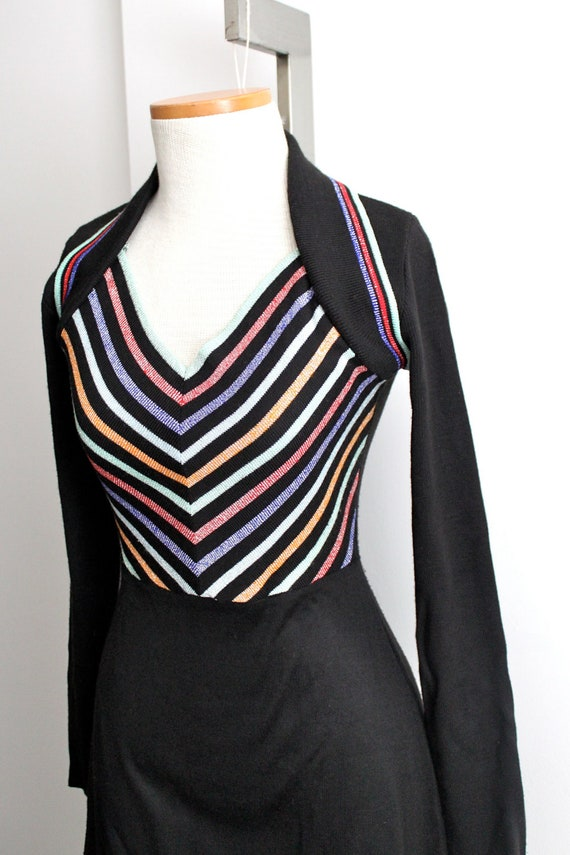 vintage 70s soft acrylic chevron maxi dress // m // knit dress