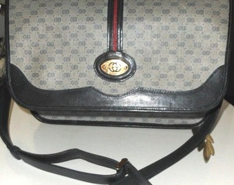 GUCCI Logo Bag Leather trim c. 1980s  SALE Limited time