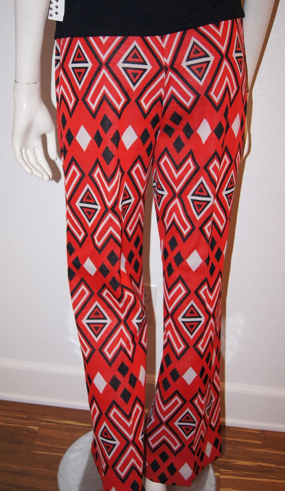 Vintage 1970s Red White and Black Geometric Print Pants by Jane Colby