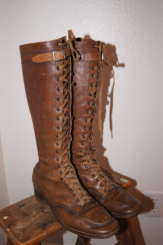 RESERVED Vintage 1930s Leather Boots / 30s Lace Up Leather Boots with Buckles Sz 7.5