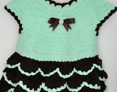 Crocheted Baby Girl Dress in Aquamarine and Dark Brown Size 3-6 months