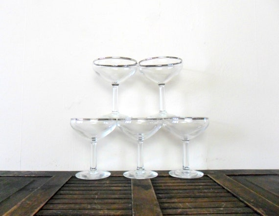 mad men chic silver rimmed champagne glasses - entertaining - party - 1960s - wedding