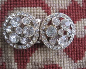 Vintage Rhinestone Two Part Belt Buckle Bride Bridal Wedding