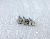 Initial Stud earrings in Recycled Fine Silver / lowercase initial earrings / tiny silver minimal Handmade