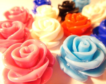Large Resin Rose flower beads (with hole) 23mm 12pcs