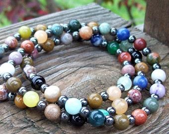 Karma Balance beaded Bohemian Hippie Bracelet Stack - Set of 3 Mixed Gemstone beaded Stretch Bracelets, Zen jewelry