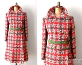 vintage 1960s coat - 60s christmas plaid wool coat / red white green