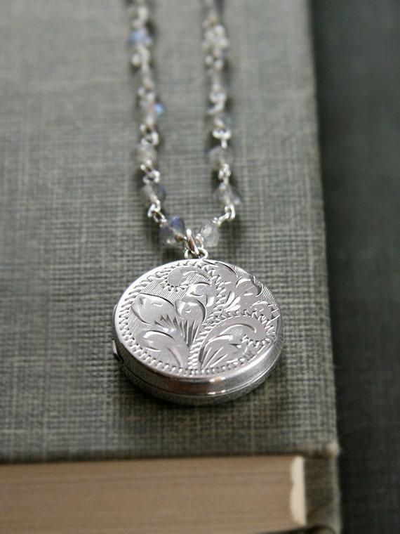 Sterling Silver Locket Labradorite Necklace Vintage Birmingham 1978 Pendant Stone Chain - English Heirloom