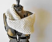 Cowl Neck Scarf - MADE TO ORDER - Knitted Ecru cream merino wool, extra soft and bulky