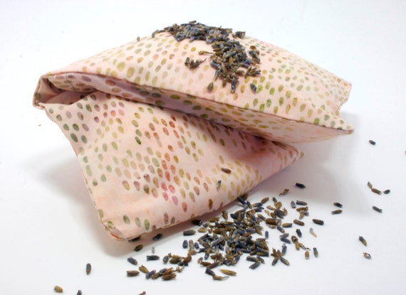Yoga Eye Pillow - Organic Lavender, Chamomile, Rosemary -  spa, travel, birthday, bachlorette - spotted pink cotton, washable slip cover