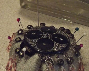 Silk Pincushion With Antique Items